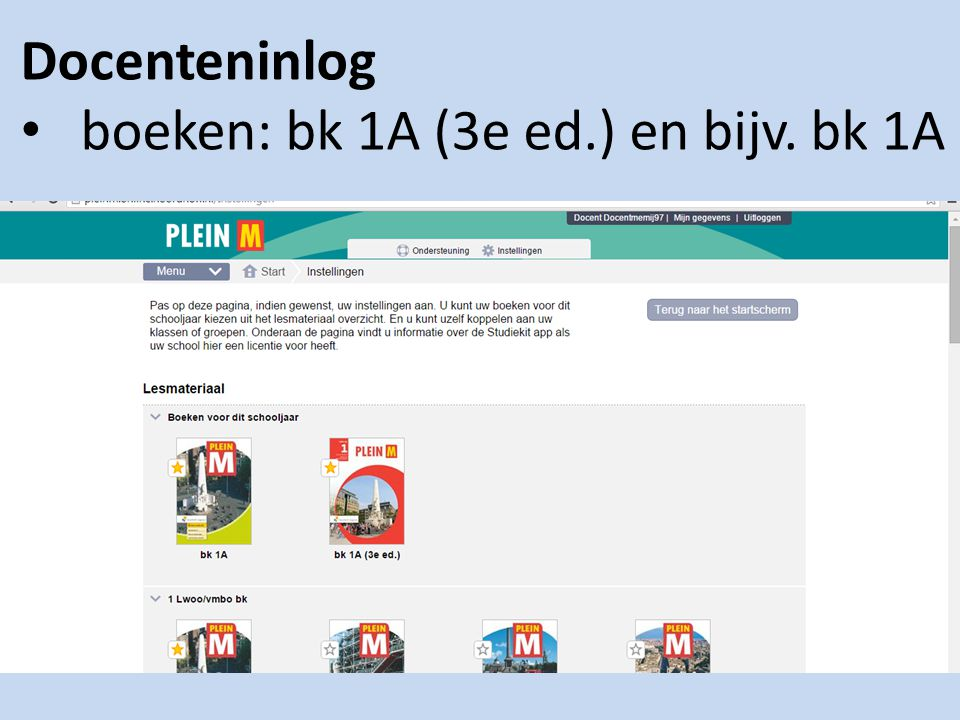 Docenteninlog boeken: bk 1A (3e ed.) en bijv. bk 1A