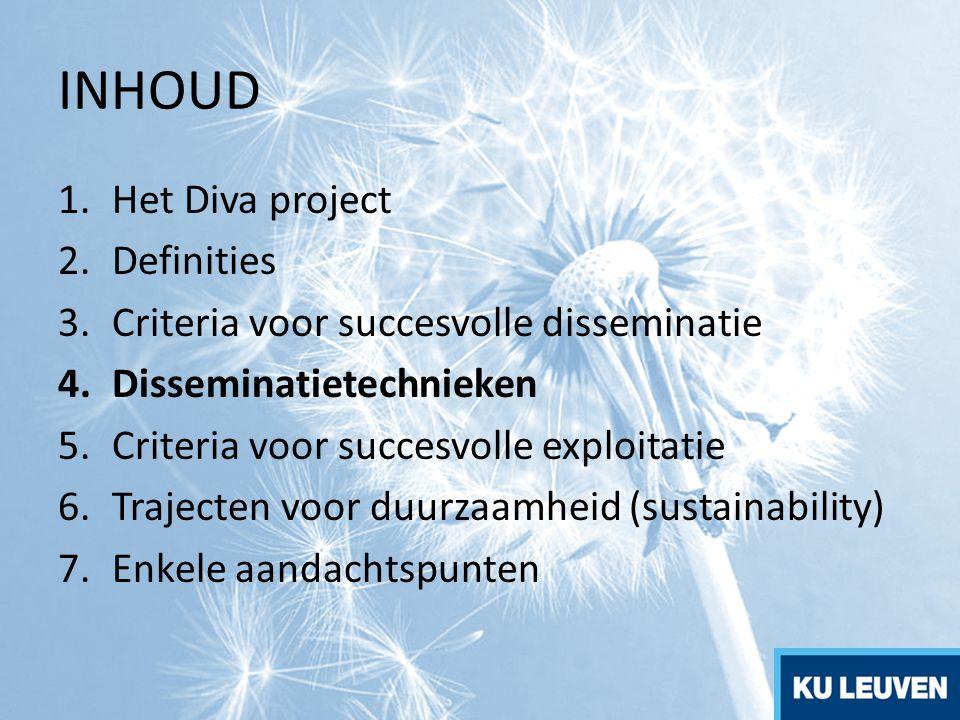 INHOUD Het Diva project Definities