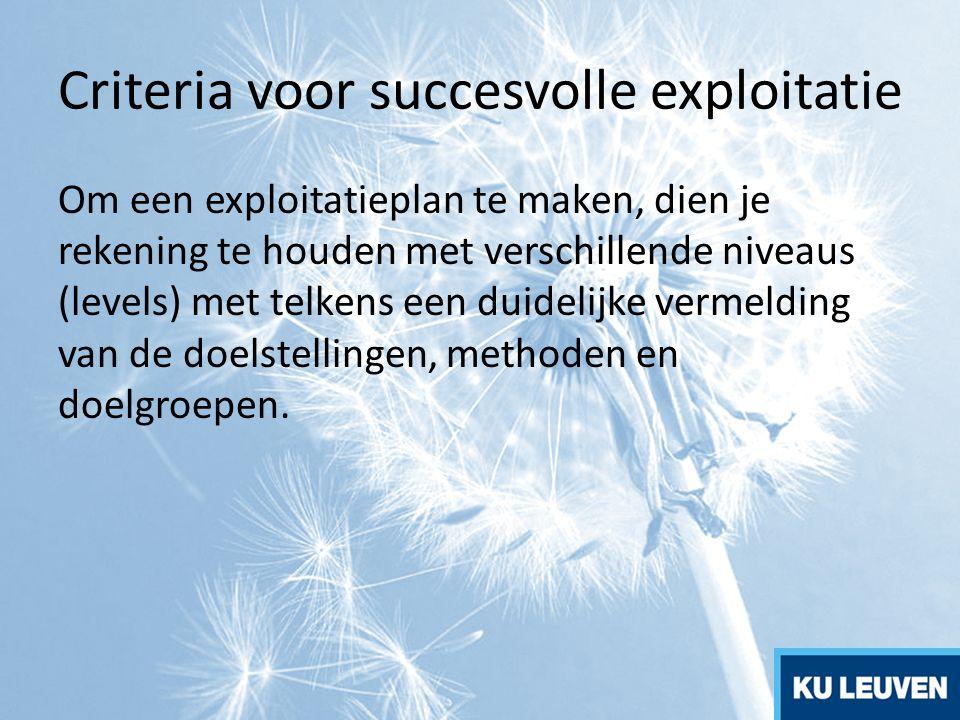 Criteria voor succesvolle exploitatie