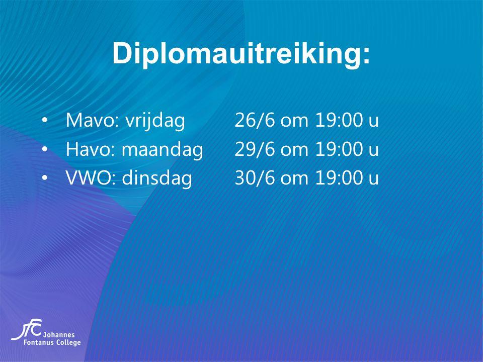 Diplomauitreiking: Mavo: vrijdag 26/6 om 19:00 u