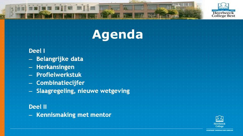 Agenda Deel I Belangrijke data Herkansingen Profielwerkstuk