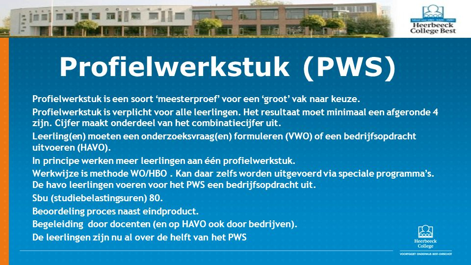 Profielwerkstuk (PWS)