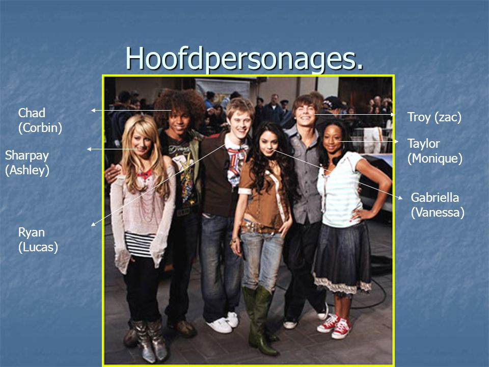 Hoofdpersonages. Chad (Corbin) Troy (zac) Taylor (Monique)