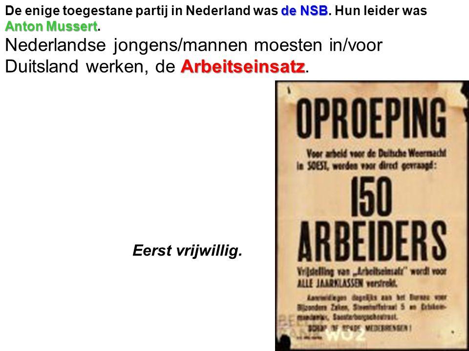 De enige toegestane partij in Nederland was de NSB