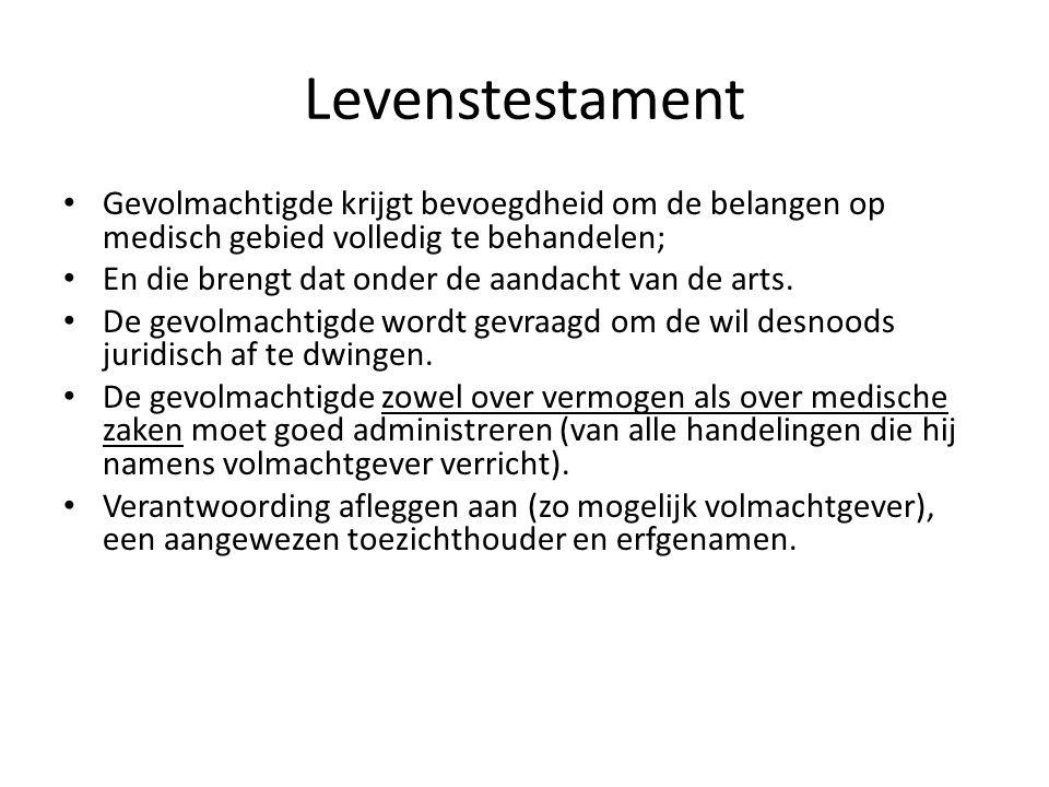 Levenstestament Gevolmachtigde krijgt bevoegdheid om de belangen op medisch gebied volledig te behandelen;