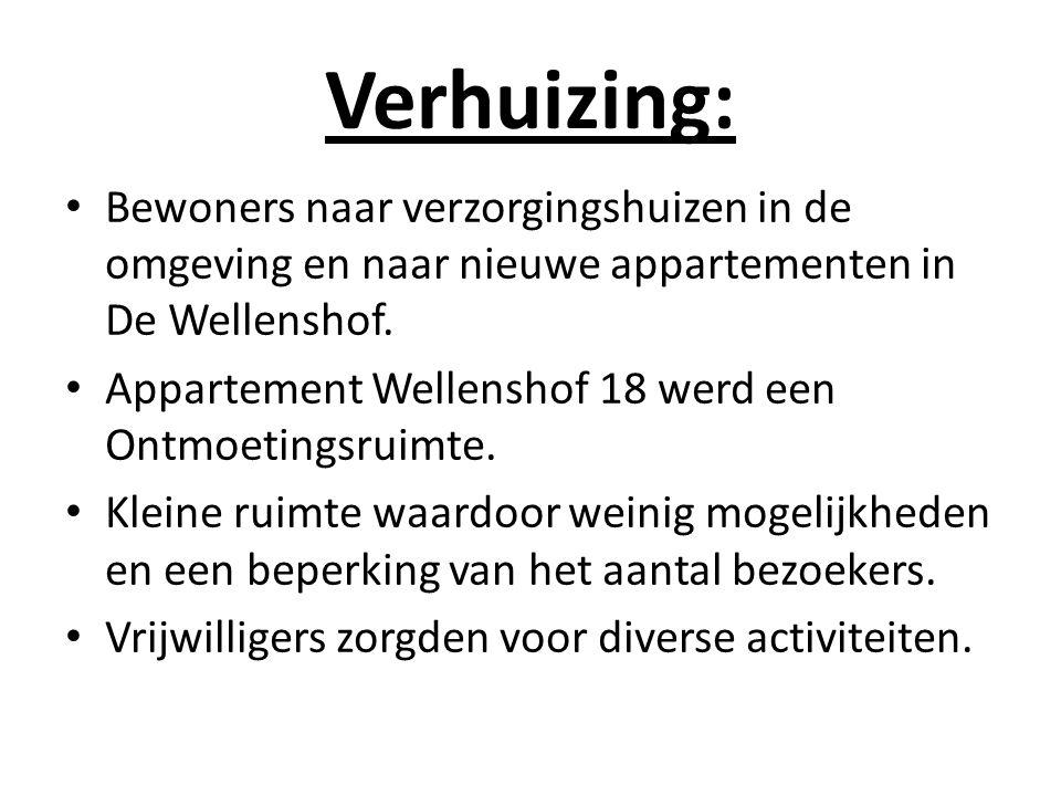 Verhuizing: Bewoners naar verzorgingshuizen in de omgeving en naar nieuwe appartementen in De Wellenshof.