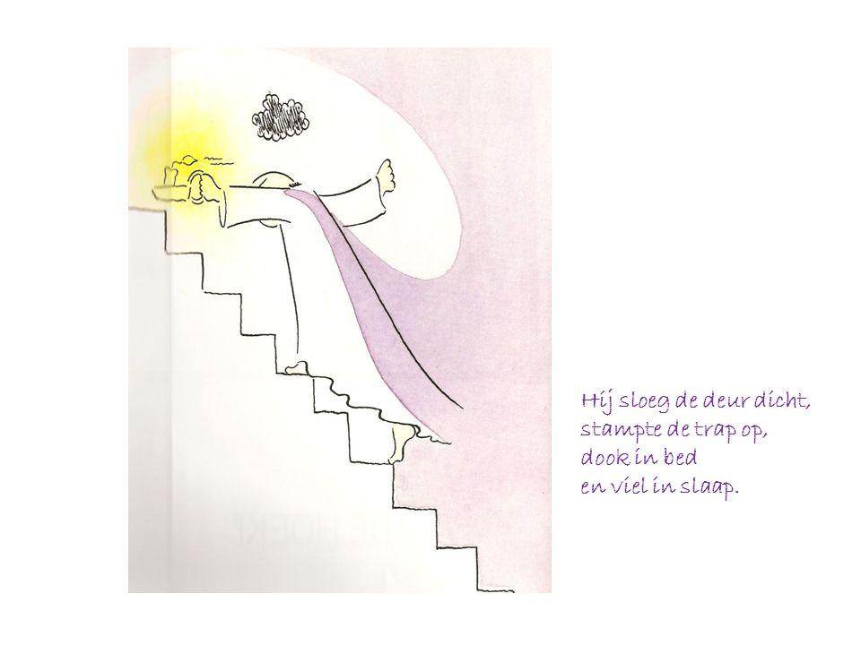 Hij sloeg de deur dicht, stampte de trap op, dook in bed en viel in slaap.