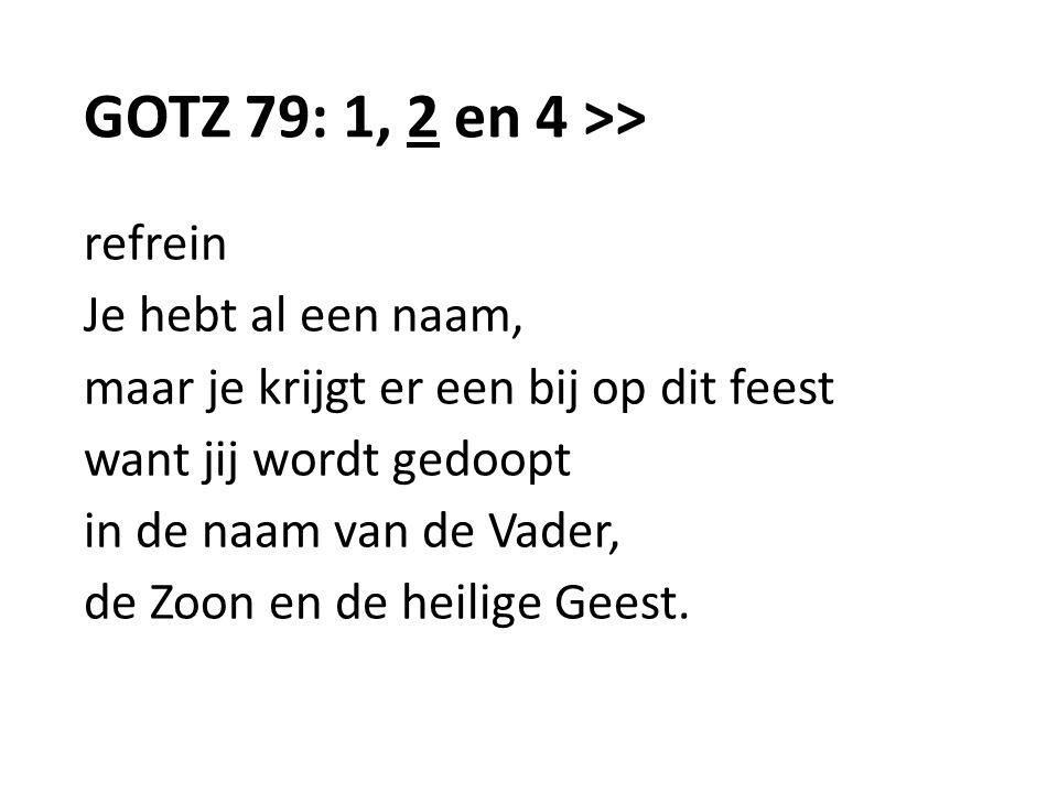 GOTZ 79: 1, 2 en 4 >> refrein Je hebt al een naam,