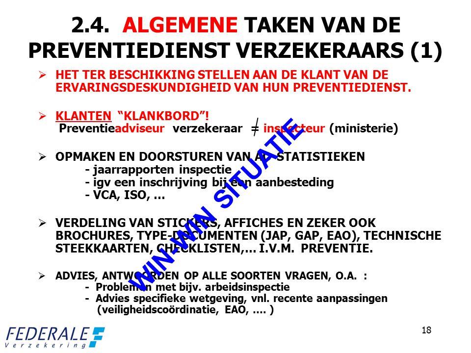 2.4. ALGEMENE TAKEN VAN DE PREVENTIEDIENST VERZEKERAARS (1)