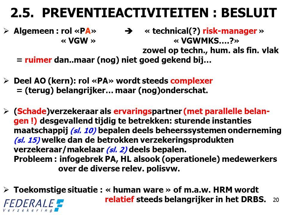 2.5. PREVENTIEACTIVITEITEN : BESLUIT