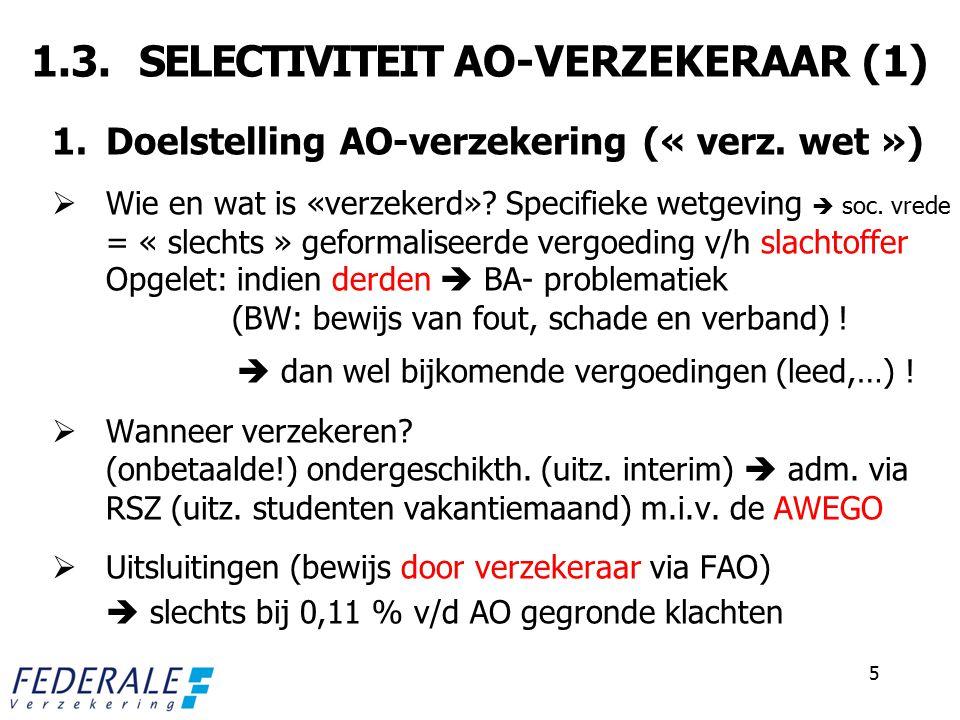 1.3. SELECTIVITEIT AO-VERZEKERAAR (1)