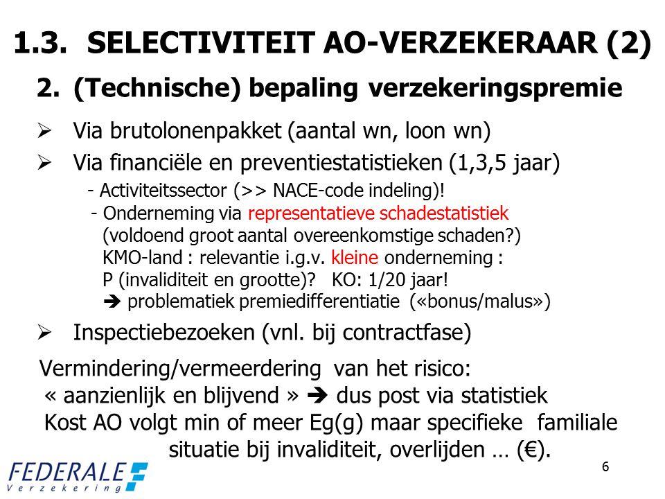 1.3. SELECTIVITEIT AO-VERZEKERAAR (2)