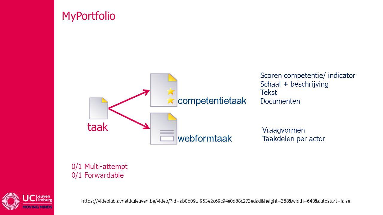 MyPortfolio taak competentietaak webformtaak