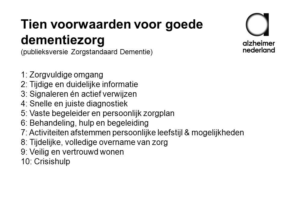 Tien voorwaarden voor goede dementiezorg (publieksversie Zorgstandaard Dementie)