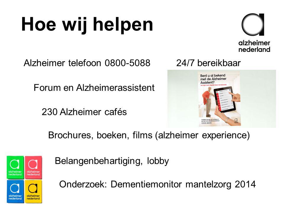Hoe wij helpen Alzheimer telefoon 0800-5088 24/7 bereikbaar