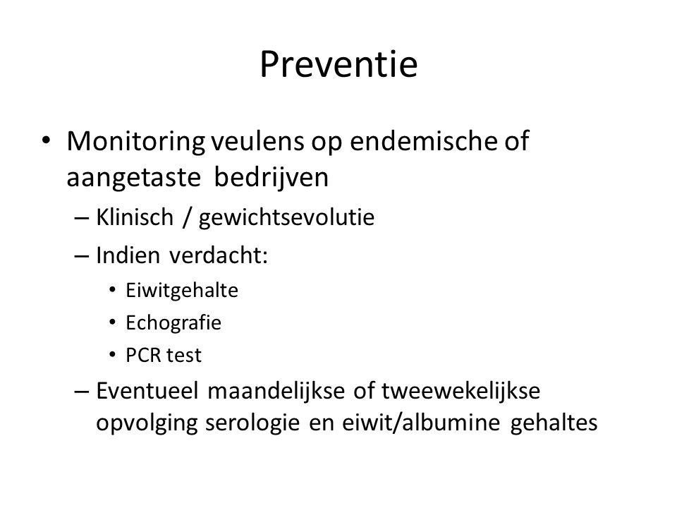 Preventie Monitoring veulens op endemische of aangetaste bedrijven