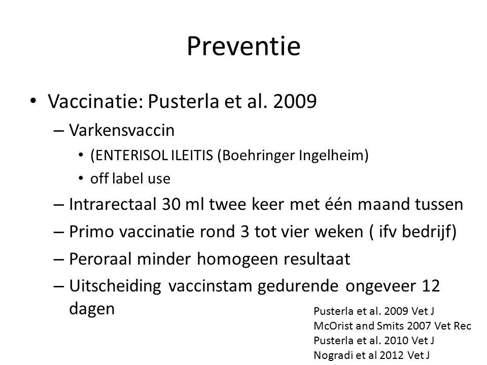 Preventie Vaccinatie: Pusterla et al. 2009 Varkensvaccin
