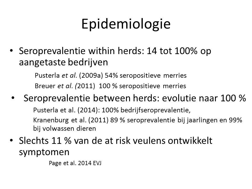 Epidemiologie Seroprevalentie within herds: 14 tot 100% op aangetaste bedrijven. Pusterla et al. (2009a) 54% seropositieve merries.