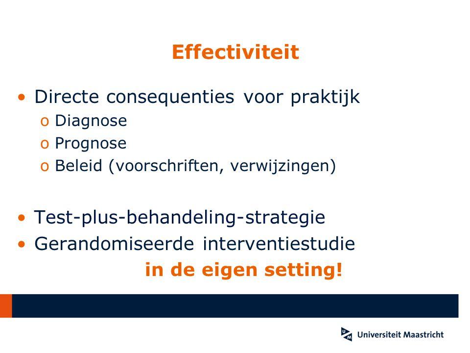 Effectiviteit Directe consequenties voor praktijk