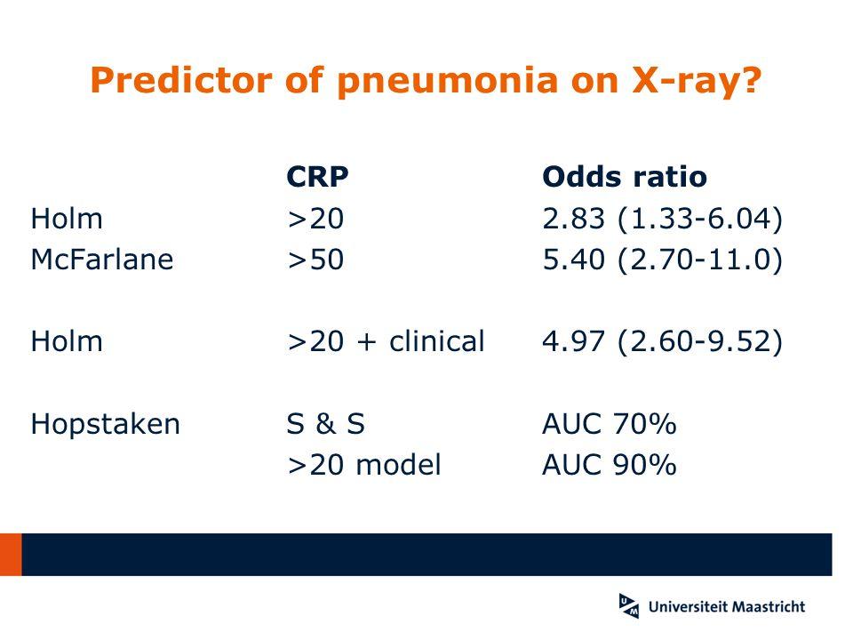 Predictor of pneumonia on X-ray