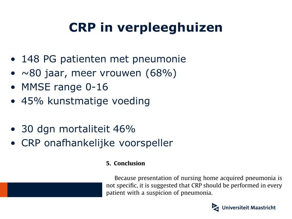 CRP in verpleeghuizen 148 PG patienten met pneumonie