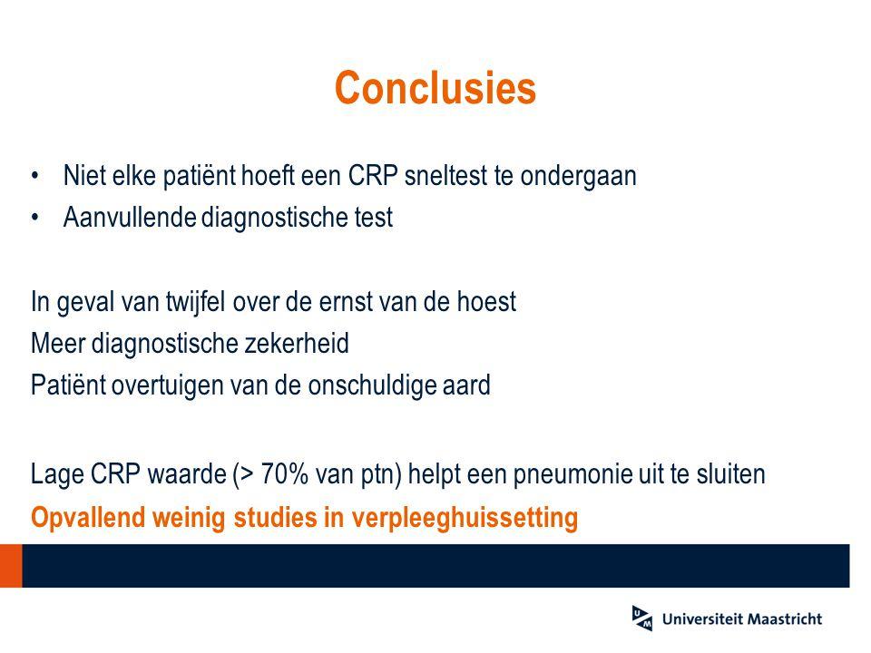 Conclusies Niet elke patiënt hoeft een CRP sneltest te ondergaan