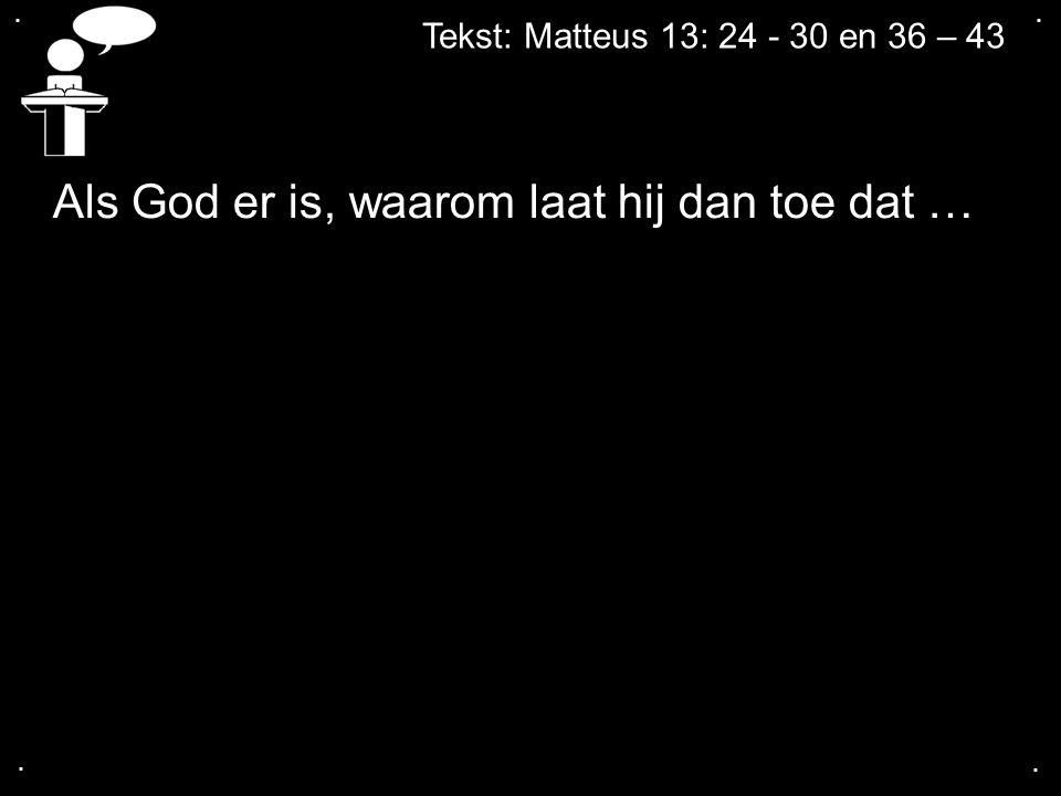 Als God er is, waarom laat hij dan toe dat …