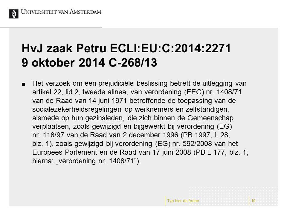 HvJ zaak Petru ECLI:EU:C:2014:2271 9 oktober 2014 C-268/13