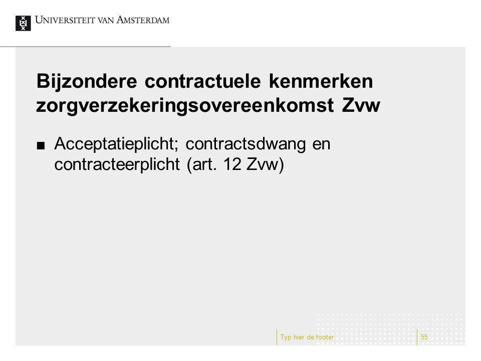 Bijzondere contractuele kenmerken zorgverzekeringsovereenkomst Zvw