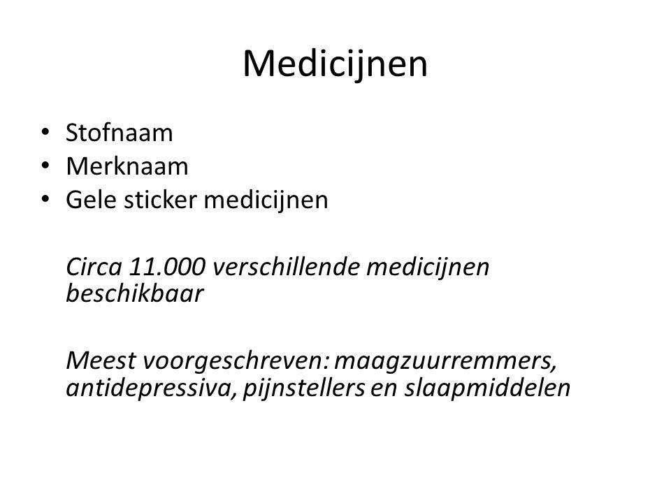 Medicijnen Stofnaam Merknaam Gele sticker medicijnen