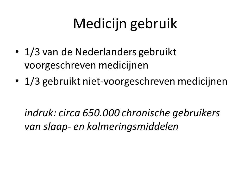 Medicijn gebruik 1/3 van de Nederlanders gebruikt voorgeschreven medicijnen. 1/3 gebruikt niet-voorgeschreven medicijnen.