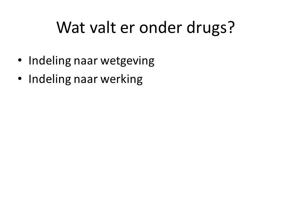 Wat valt er onder drugs Indeling naar wetgeving Indeling naar werking