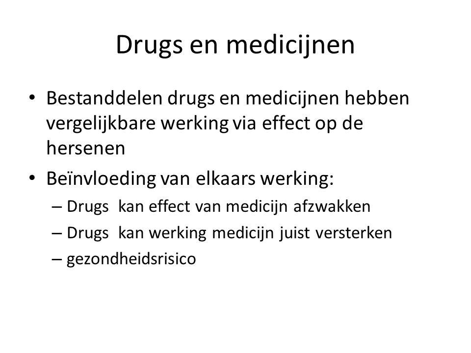 Drugs en medicijnen Bestanddelen drugs en medicijnen hebben vergelijkbare werking via effect op de hersenen.