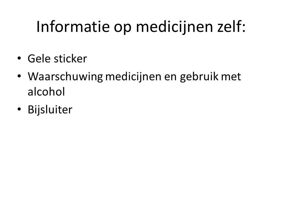 Informatie op medicijnen zelf: