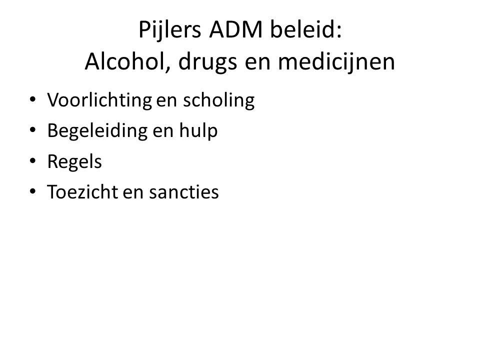 Pijlers ADM beleid: Alcohol, drugs en medicijnen