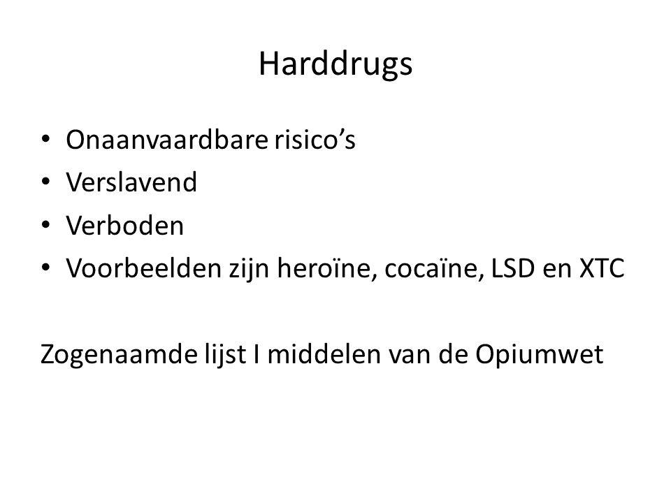 Harddrugs Onaanvaardbare risico's Verslavend Verboden