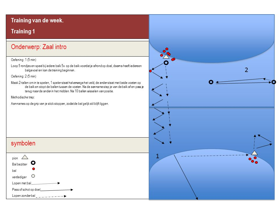 Onderwerp: Zaal intro 2 symbolen 1 Training van de week. Training 1