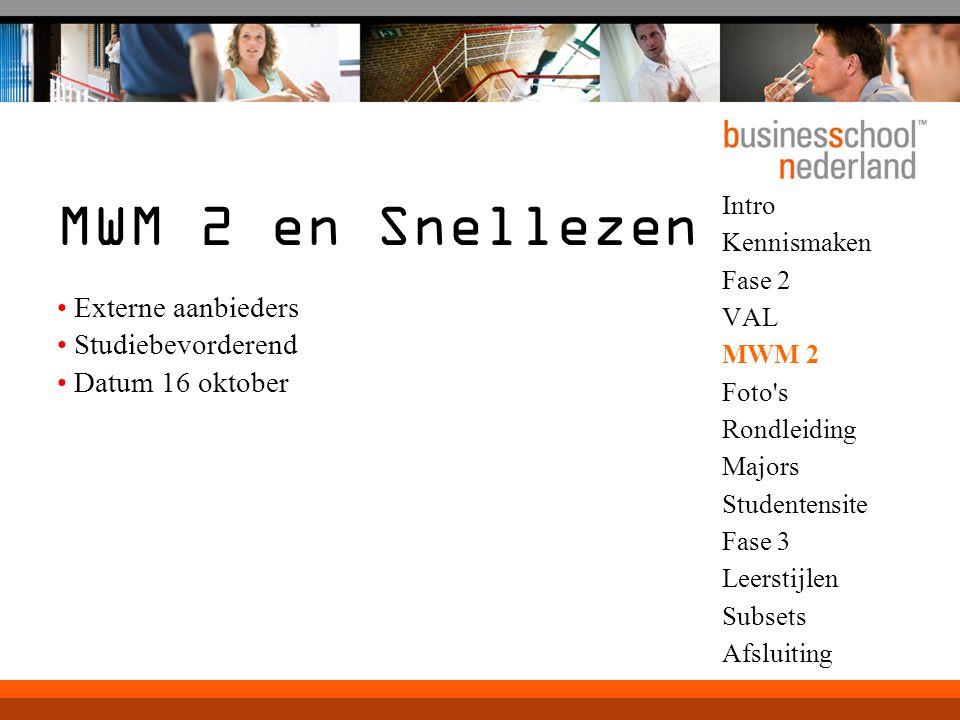 MWM 2 en Snellezen Externe aanbieders Studiebevorderend