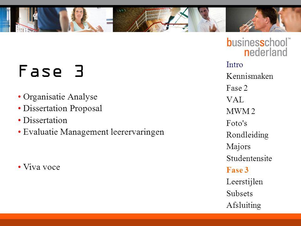 Fase 3 Organisatie Analyse Dissertation Proposal Dissertation