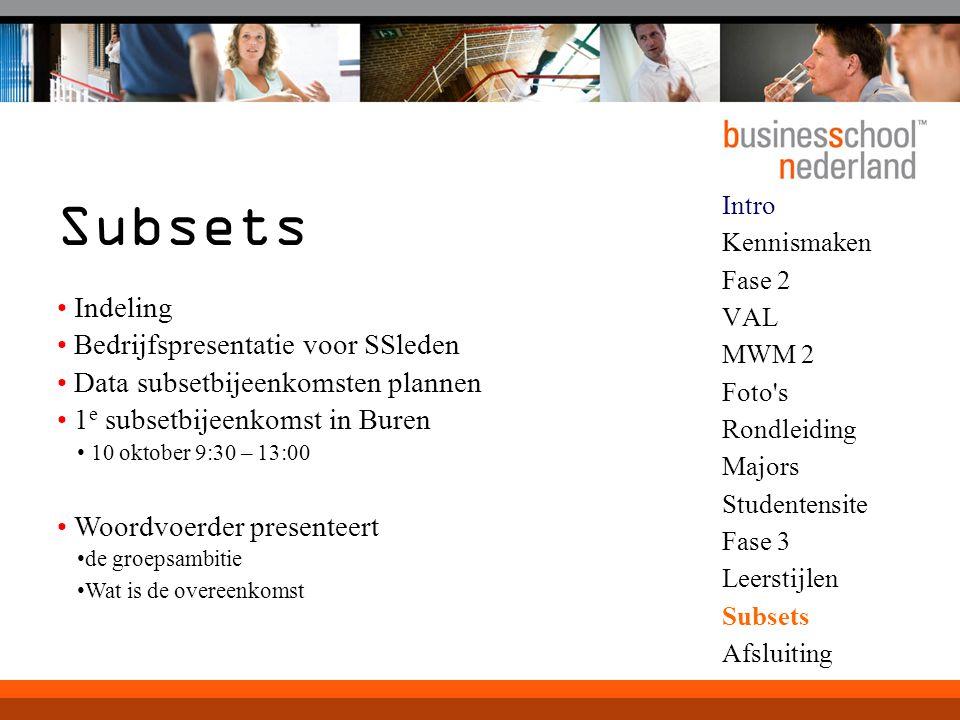 Subsets Indeling Bedrijfspresentatie voor SSleden