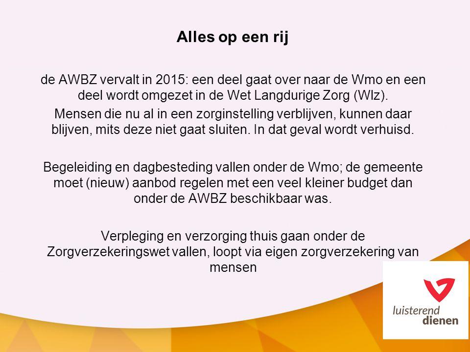 Alles op een rij de AWBZ vervalt in 2015: een deel gaat over naar de Wmo en een deel wordt omgezet in de Wet Langdurige Zorg (Wlz).