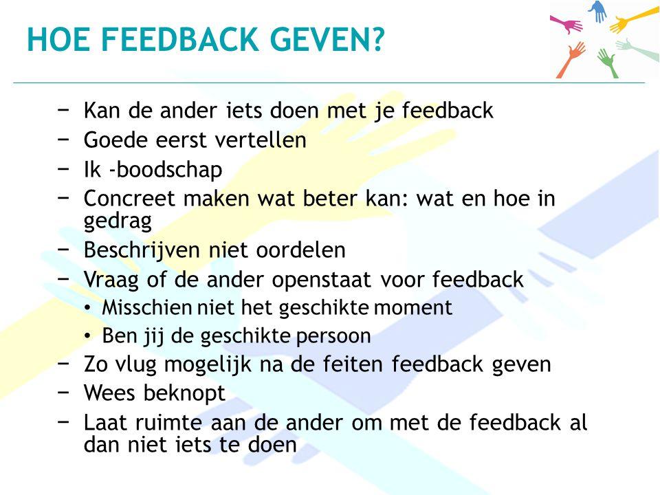Hoe Feedback geven Kan de ander iets doen met je feedback