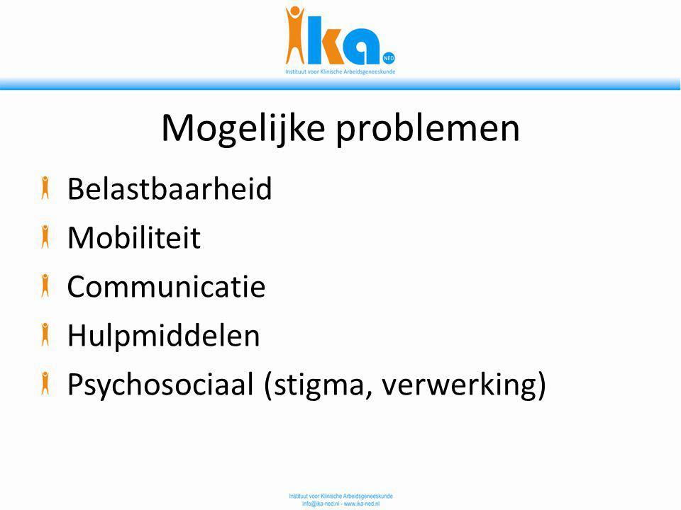 Mogelijke problemen Belastbaarheid Mobiliteit Communicatie