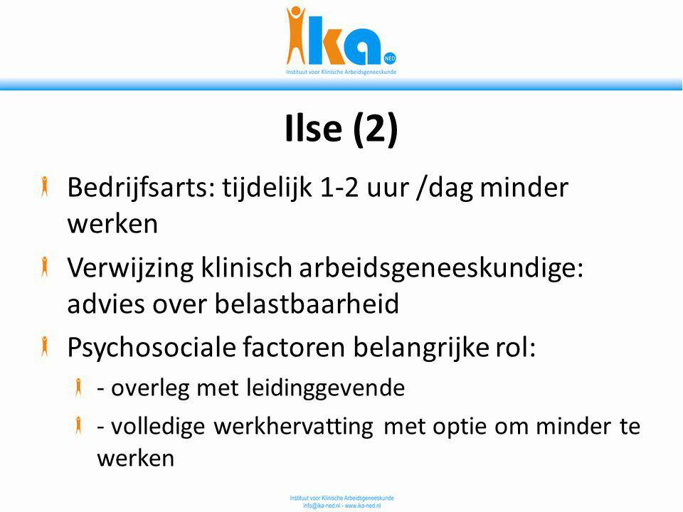 Ilse (2) Bedrijfsarts: tijdelijk 1-2 uur /dag minder werken