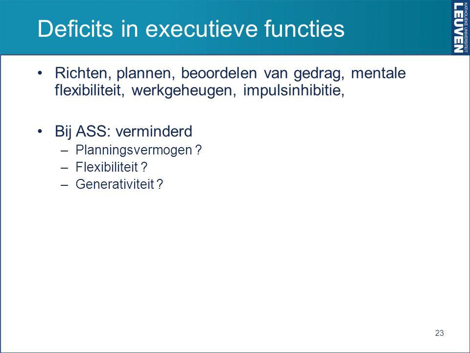 Deficits in executieve functies