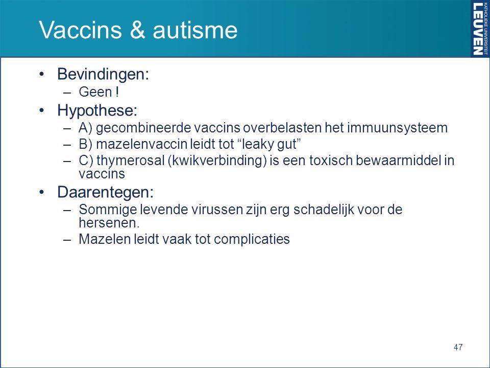 Vaccins & autisme Bevindingen: Hypothese: Daarentegen: Geen !