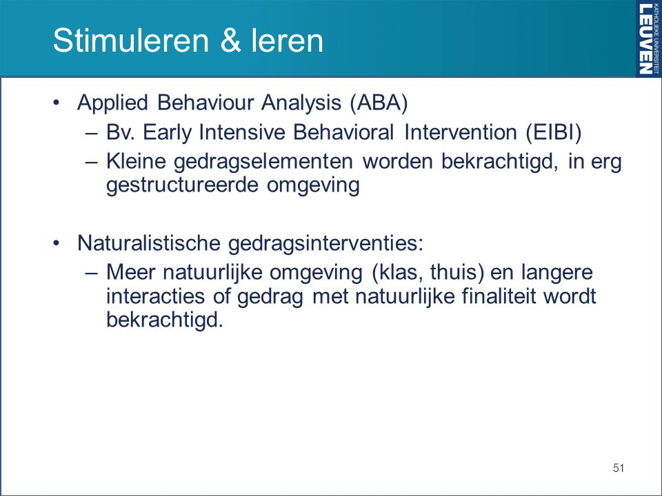 Stimuleren & leren Applied Behaviour Analysis (ABA)
