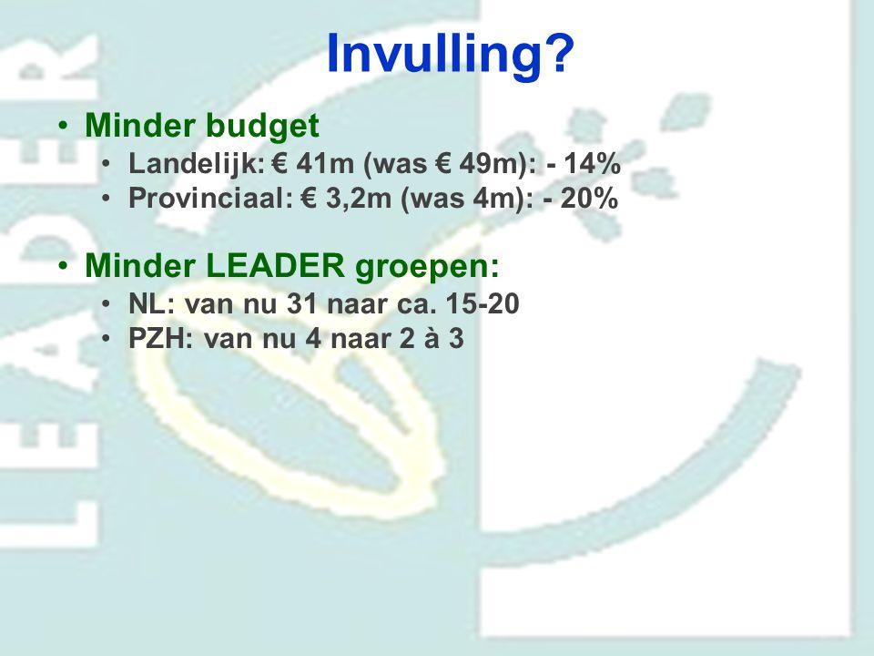 Invulling Minder budget Minder LEADER groepen: