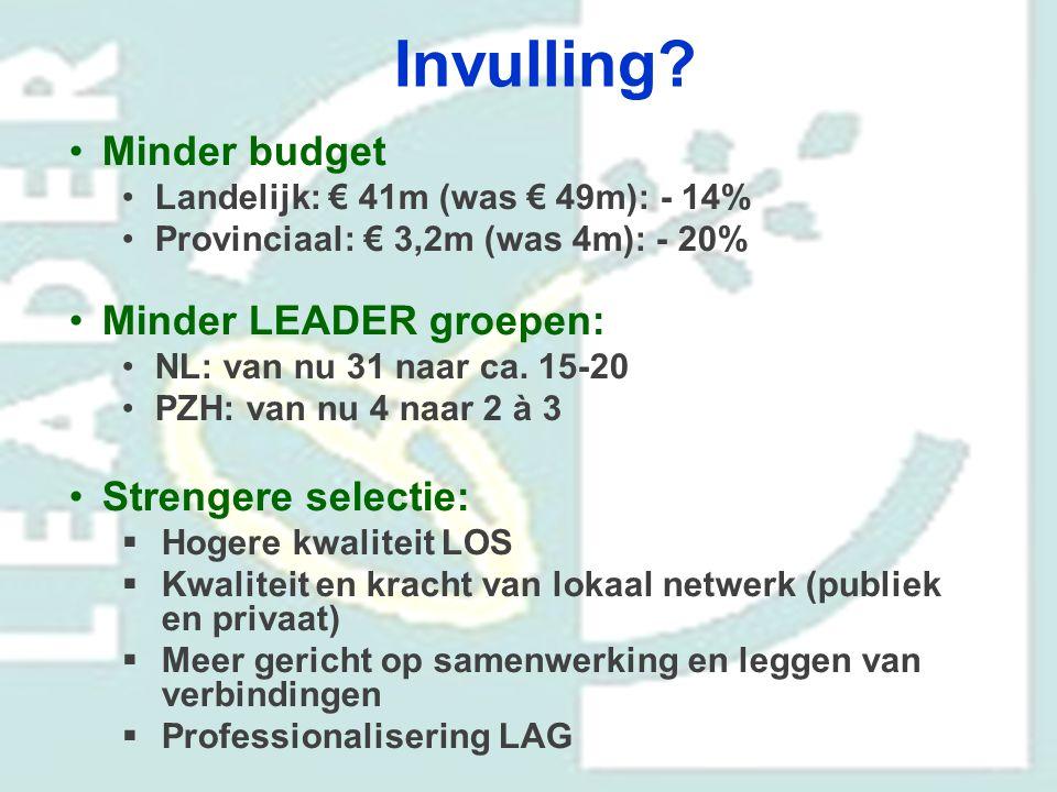 Invulling Minder budget Minder LEADER groepen: Strengere selectie: