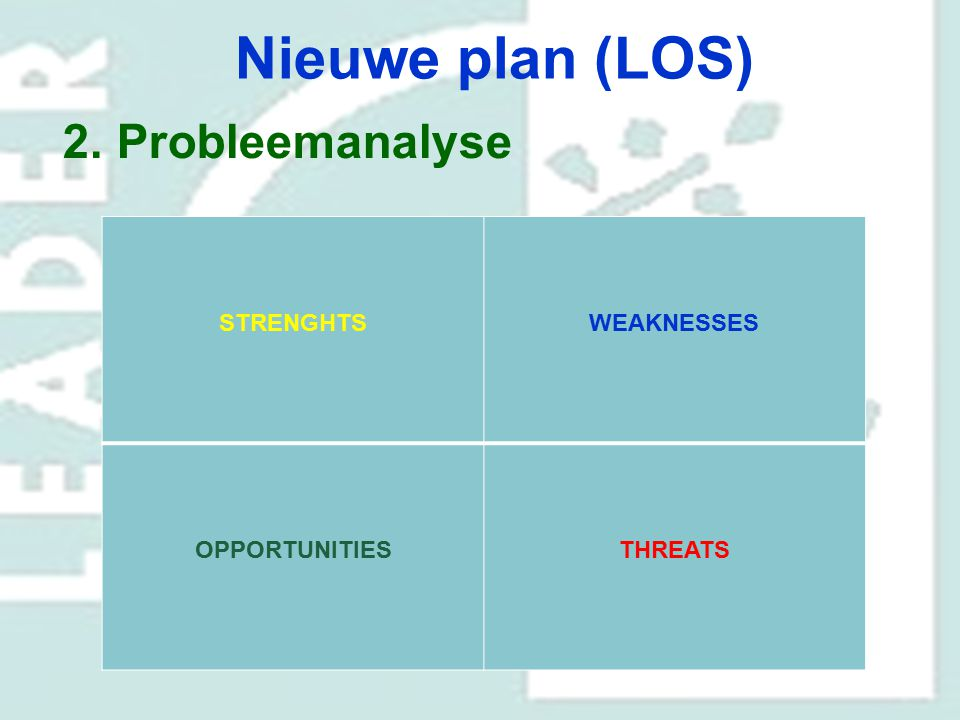 Nieuwe plan (LOS) Probleemanalyse STRENGHTS WEAKNESSES OPPORTUNITIES